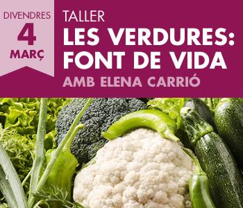 banner Les Verdures: Font de Vida. Taller amb l'Elena Carrió